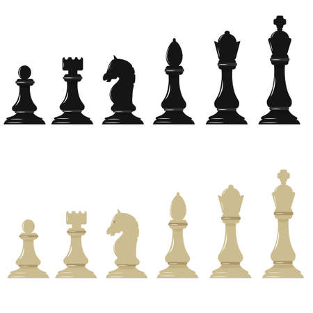 Dark and light chess figures isolated on white background vector stock illustration. Graphic pieces, objects in simple design. Elements of chessboard. Иллюстрация
