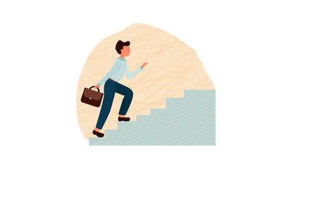 Man going upstairs, personal productivity, time management concept. Composition in flat style stock vector illustration. Development and growth metaphor. Vector illustration