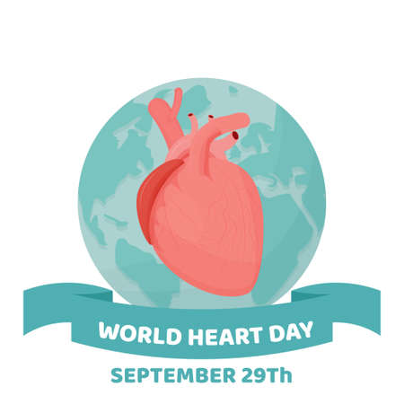 World Heart Day on white Background, September holiday stock vector illustration. Organ with letters, text greeting card. Medical, healthcare, aids concept. Иллюстрация