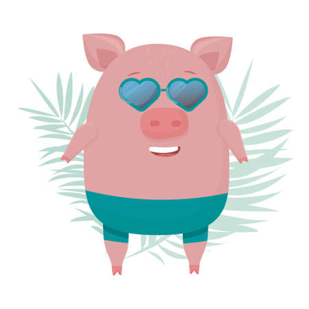 Comic trendy pig, piggy in sunglasses standing and smiling, summer funny character isolated on white background stock vector illustration. Vector illustration