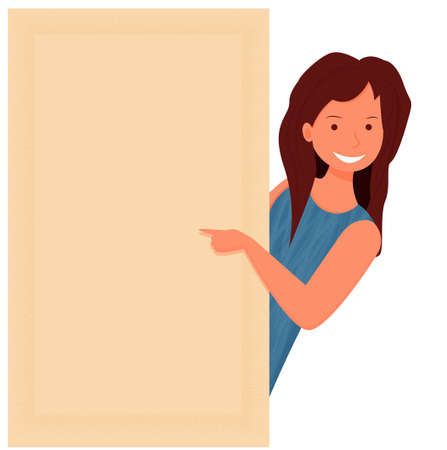 Beautiful young woman smiling gesturing with fingers and pointing with copy space stock vector illustration. Иллюстрация