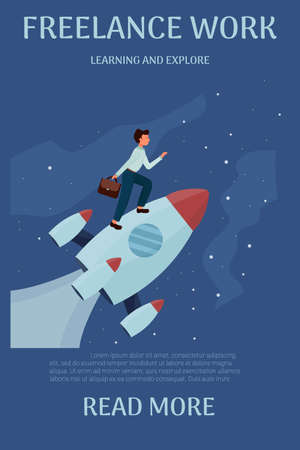 Man standing on rocket and flying up with stars, cosmos. Development, start up, success concept in flat style stock vector illustration