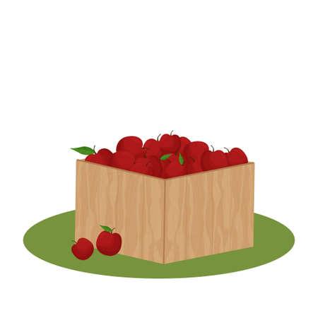 Wooden box full of apples, harvest, gardening concept, isolated and editable. Fresh, eco fruits stock vector illustration. Vector illustration Иллюстрация