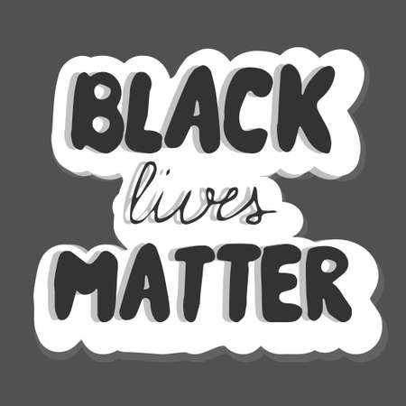 Simbol of humanity text black lives matter on dark background stock vector illustration. Vector illustration