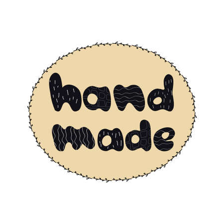 Hand drawn lettering hand made,  emblem for shop, tags isolated on white background editable stock vector illustration. Doodle element, stamp. Vector illustration
