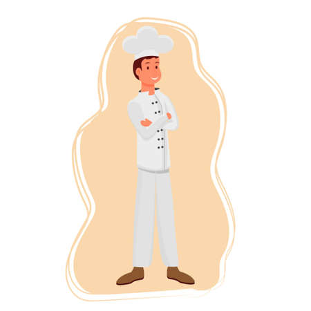 Chef character in uniform standing and smiling isolated and editable stock vector illustration
