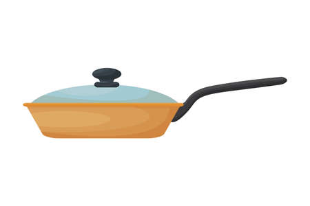 Frying pan closed, front view, colorful, shyness object isolated on white background stock vector illustration. Vector illustration Иллюстрация