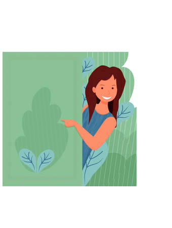 Beautiful young woman smiling gesturing with fingers and pointing with copy space stock vector illustration. . Vector illustration