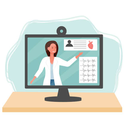 Doctor in monitor, cardiology consulting, examination. Medical, online healthcare concept isolated on white background stock vector illustration. Vector illustration