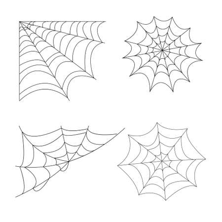 Halloween set of four cobweb isolated on white background. web for spiderweb scary design stock vector illustration. Vector illustration