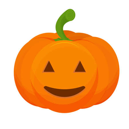 Pumpkin with scary Halloween face isolated on white background stock vector illustration. Decoration for celebration. Vector illustration