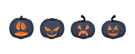 Vector set of pumpkin with scary face. Isolated on white background. Symbol of Halloween holiday. pumpkin cartoon. Vector illustration