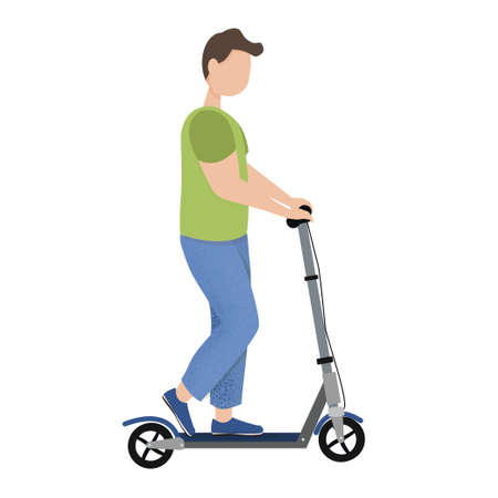 Character man riding on kick scooter in vector