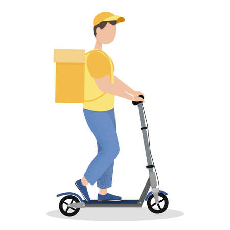 Courier riding on kick scooter in vector design isolated on white background. Detailed drawn, textured. Bright, colorful modern. Delivery service, eco style concept. Electric transport fast and safety