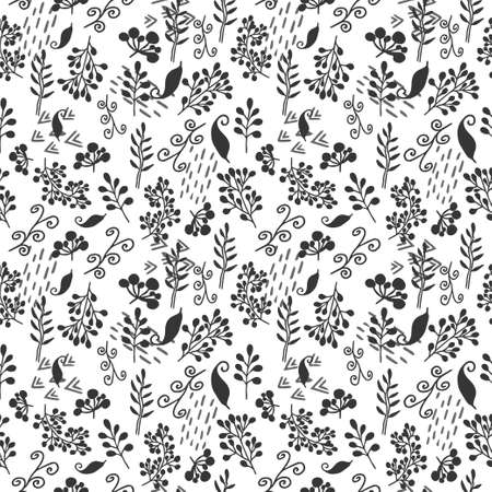 Whimsical seamless pattern in vector design. Black doodle floral elements. Hand drawn objects. Graphic trendy ornament. Stylish artwork Фото со стока