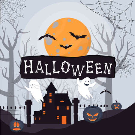 Scary Halloween background with mistery old house, trees, moonlight and pumpkins with horor faces stock vector illustration. Vector illustration Vettoriali