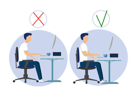 Correct spine sitting posture at computer and incorrect. Medical infographic healthcare. Vector illustration of ofice man character.