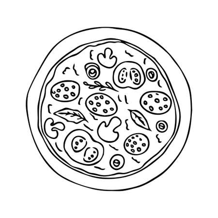 Doodle hand drawn pizza, round shape, contour isolated on white background stock vector illustration. Vector illustration