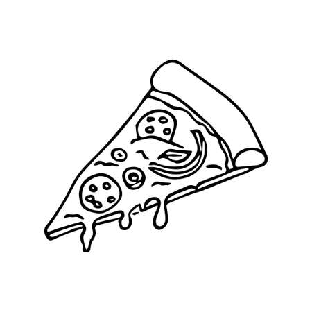 Vector illustration. Pizza slice with melted cheese and pepperoni. Hand drawn doodle. Cartoon sketch. Decoration for greeting cards, posters, emblems Vettoriali