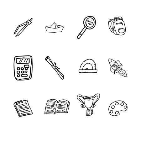 Back to School with hand drawn school supplies isolated on white background. Doodle school object collection. Sketch icon. Kids style ink background. Education Concept. Vector illustration. Vettoriali