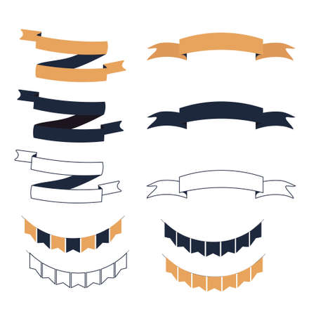 Set of Halloween ribbons and lables isolated on white background stock vector illustration. Empty design elements, objects in one style Vettoriali