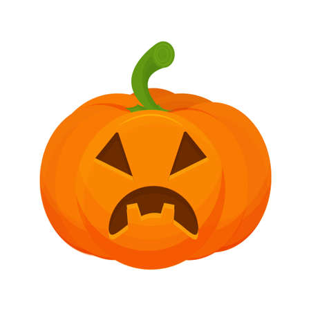 Pumpkin with scary Halloween face isolated on white background stock vector illustration. Decoration for celebration Vettoriali