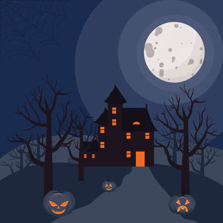 Scary Halloween background with mistery old house