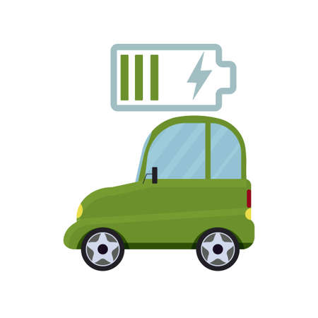 Electric car isolated on white background, ecology, save environment concept stock vector illustration. alternative vehicle.