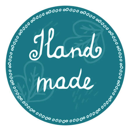 Hand drawn lettering hand made, logo, emblem for shop, tags isolated on white background editable stock vector illustration. Doodle element, stamp