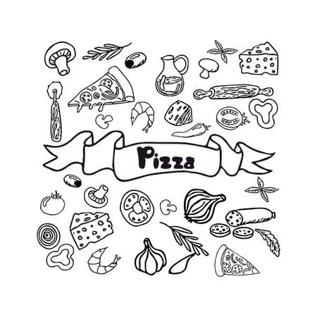 Italian pizza and ingredients. Italian food menu design template. Pizzeria menu design template. Vintage hand drawn sketch vector illustration. Engraved image.