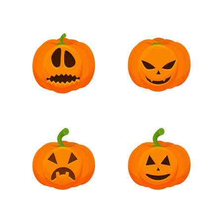 Vector set of pumpkin with scary face. Isolated on white background. Symbol of Halloween holiday. pumpkin cartoon.