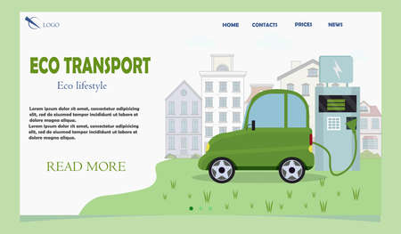 Electric Car Concept Eco transport stock Vector Illustration for Landing Page Template, Website Banner, Advertisement and Marketing Material, Online Advertising, Business Presentation etc.