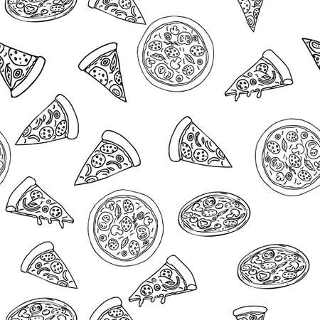 Pizza in different design seamless pattern hand drawn sketch. Doodles Food background stock vector illustration. Vettoriali