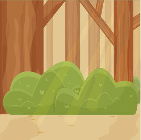 Deep forest bright cartoon background stock vector illustration. Nobody in composition. Shiny landscape, scenery
