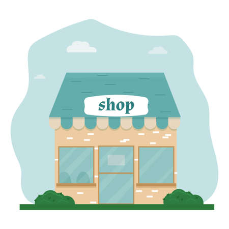 Fasad store, shop building in flat style, cute stock illustration. Front view with door, windows. Colorful and bright composition