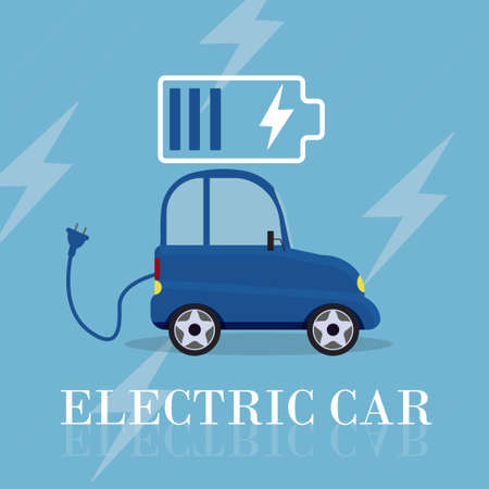 Electric car flat infographic concept stock vector illustration. Electric car on charging station. Ecology, innovation concept Vettoriali