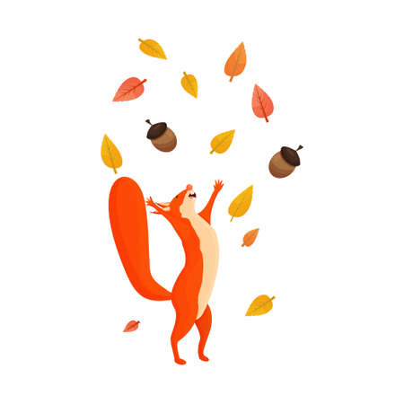 Funny happy character squirrel with leaves and acorn isolated on white background stock vector illustration. Bright and colourful autumn, fall clipart, composition