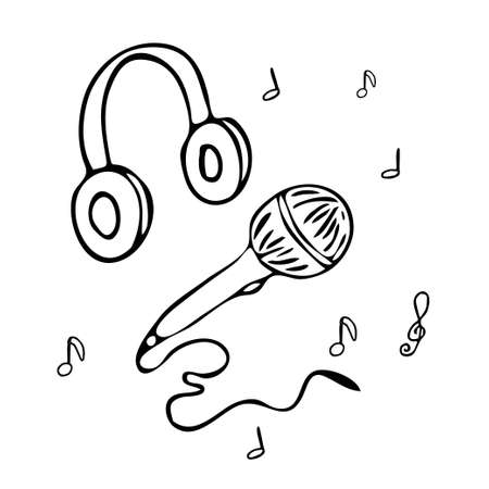 Media tools, earphones and microphone. Sound recording equipment, broadcasting facilities handdrawn vector illustration. Podcast studio items, contour drawing Vettoriali