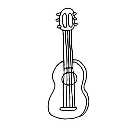 Acoustic hand drawn guitar in doodle style isolated on white background, contour clipart stock vector illustration