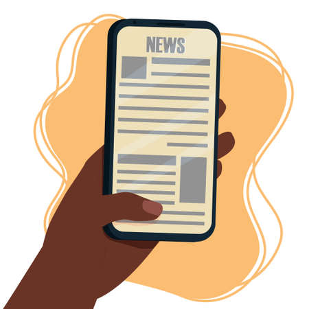 Reading news on screen of smartphone. Hand Afro-American ethnic holding mobile phone. Breaking news, online application stock vector illustration
