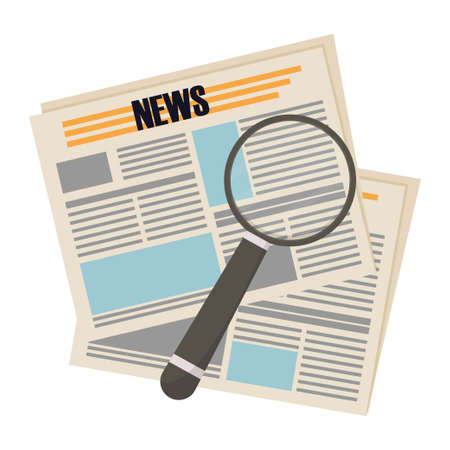 Newspaper with magnifier, flat style, search information, analysis concept stock vector illustration isolated on white background