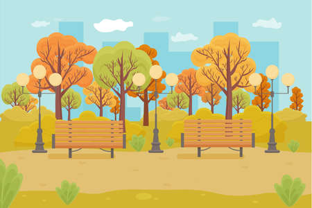 City autumn park, scenery. Bench and lantern and many fall trees. Outdoor landscape stock vector illustration.