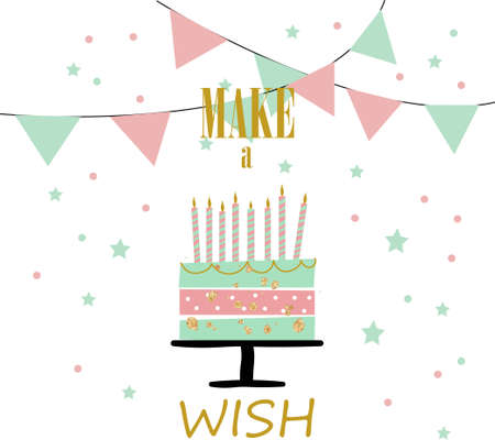 Happy birthday greeting card with cake candles, flags and text Make a wish, stylish composition stock vector illustration