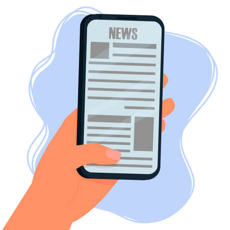 Reading news on screen of smartphone. Hand holding mobile phone isolated composition on white background stock vector illustration