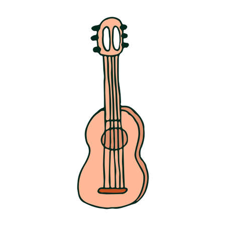 Acoustic hand drawn guitar in doodle style isolated on white background, contour clipart stock vector illustration. Vector illustration