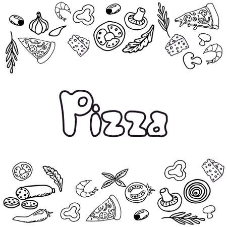 Italian pizza and ingredients top view frame. Italian food menu design template. Vintage hand drawn sketch, vector illustration. Engraved style illustration. Pizza label for menu. Vector illustration Vettoriali