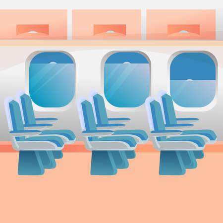 Empty plane salon. Vector graphic illustration in flat design. Sitting places, luggage cabin, illuminators. Bright colorful composition.