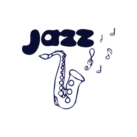 Saxophone doodle hand drawn illustration with text jazz isolated on white background. Contour object, element stock vector clipart. Vector illustration