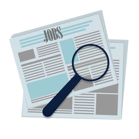 magnifying glass with wording job in the newspaper, unemployment look for a new job isolated on white background stock vector illustration. Vector illustration