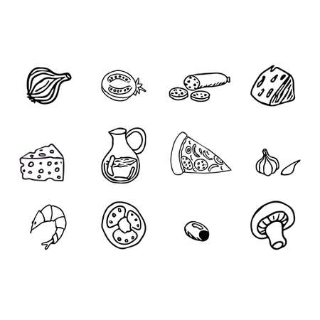 Set of pizza ingredients, hand drawn doodle objects, graphic design elements isolated on white background, contour drawing stock vector illustration. Vector illustration